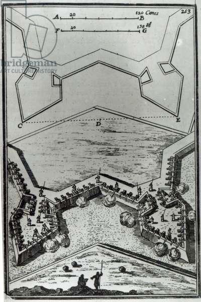 Figure LXVI, from 'Les Travaux de Mars, ou L'Art de la Guerre' by A.M. Mallet, 1684 (engraving)