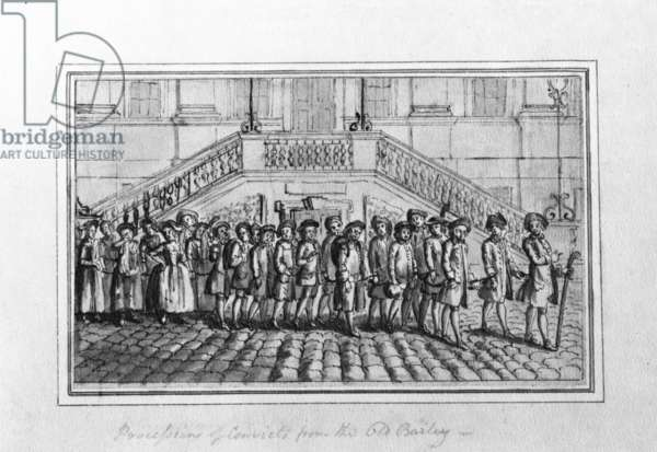 Procession of Convicts from the Old Bailey, c.1750-1800 (pen and ink and grey wash on paper)