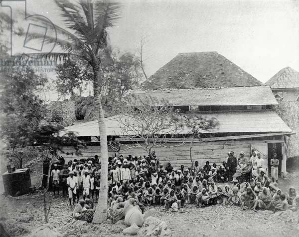 Plantation Workers on arrival from India, mustered at Depot, c.1891 (b/w photo)