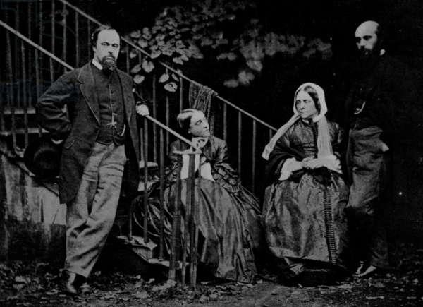 Portrait of the Rossetti Family, 1864 (b/w photo)