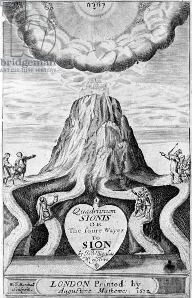 Titlepage to 'Quadrivium Sionis or the foure ways to Sion', by John Monlas, 1633 (engraving)