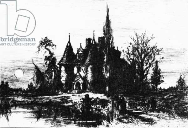 The House of Usher, illustration from 'The Works of Edgar Allan Poe', 1884 (etching)