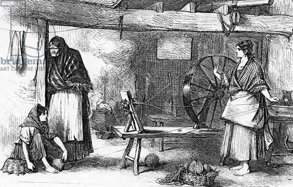Spinning Net Thread in the Claddagh, Galway, illustration from 'The Illustrated London News', July 16 1870 (engraving)