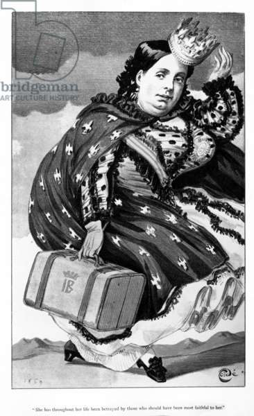 Queen Isabella II of Spain, cartoon published in 'Vanity Fair' magazine, 18 September, 1869 (litho)