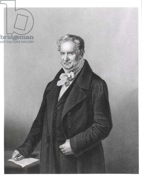 Portrait of Baron Alexander von Humboldt (1769-1859) (engraving) (b&w photo)