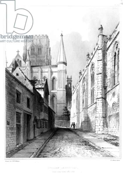 Durham Cathedral, East view from Bow Lane (engraving)