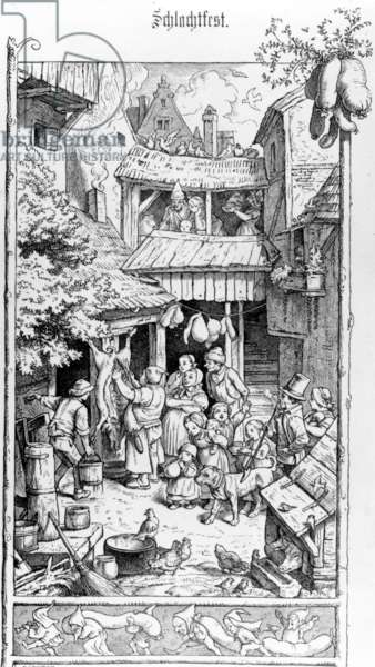 German Schlachtfest, engraved by Adrian Ludwig Richter, 1861 (engraving)