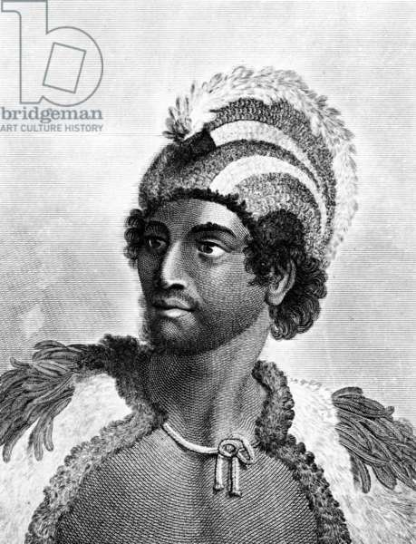 Portrait of Kaneena, a Chief of the Sandwich Islands in the North Pacific Ocean, engraved by Ambrose William Warren (engraving)