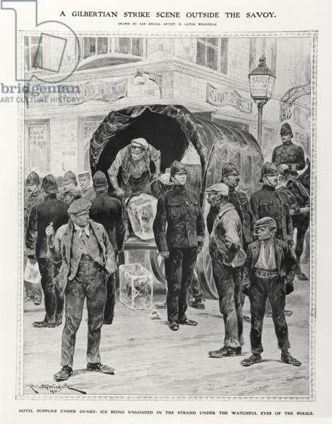 A Gilbertian strike scene outside the Savoy, 1910 (litho) (b/w photo)