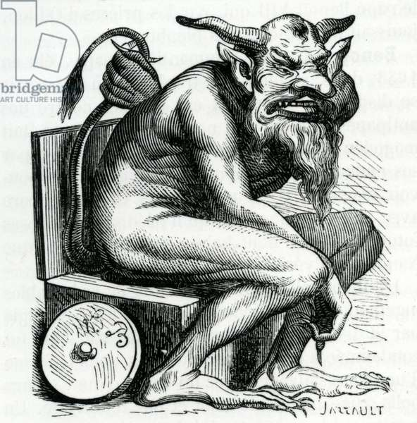 Belphegor, illustration from the 'Dictionnaire Infernal' by Jacques Albin Simon Collin de Plancy, 1863 (engraving)