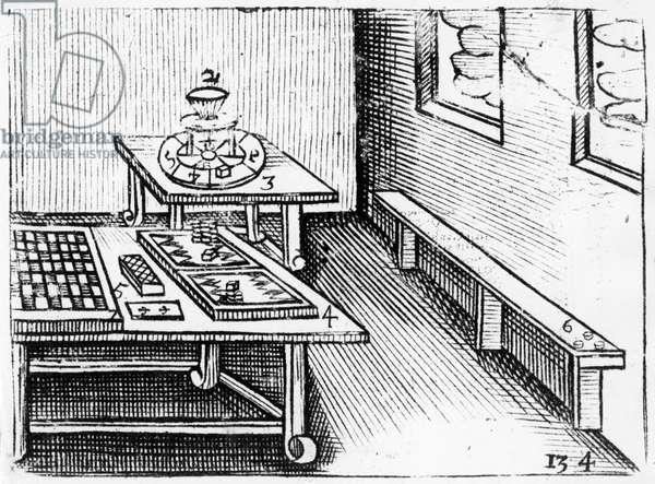 Board games from 'Orbis Sensualium Pictus', 1658 (woodcut)