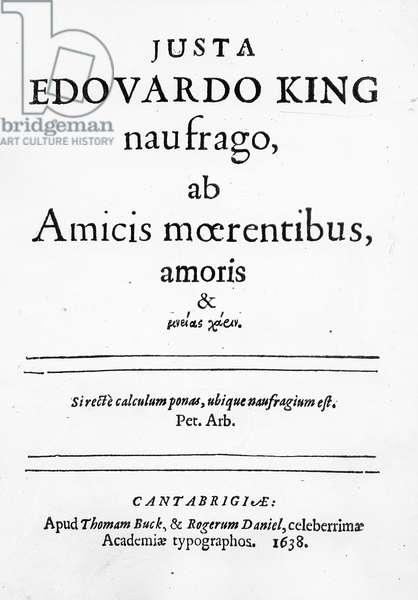 Titlepage to 'Justa Edouardo King naufrago ab Amicis moerentibus, amoris & ...' , published 1638 (print)
