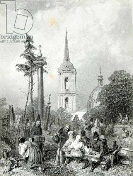 Cemetery of the Smolensko Church, engraved by E.Smith, 1845 (engraving)