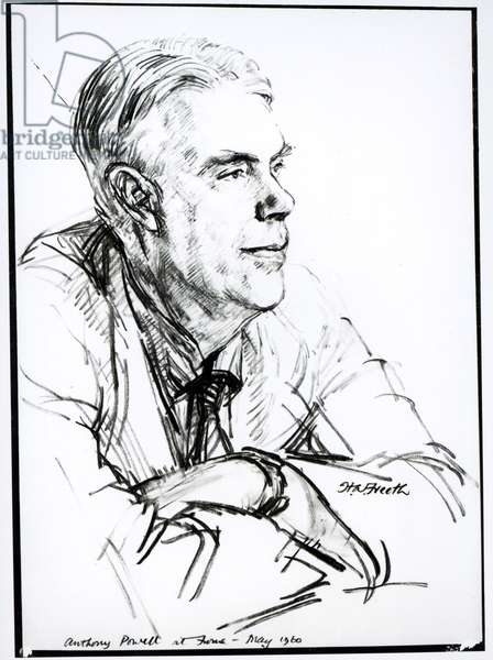 Anthony Powell (b.1905) at Home, 1960 (pencil on paper) (b/w photo)