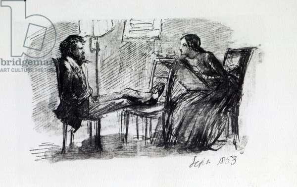 Rossetti being sketched by Elizabeth Siddal, September 1853 (pen & ink on paper)