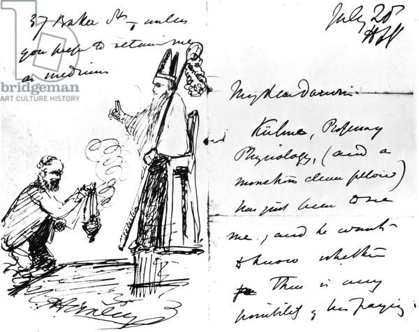 A letter from Thomas Henry Huxley to Charles Darwin, with a sketch of Darwin as a bishop or saint, July 20th, 1868 (pen & ink on paper)