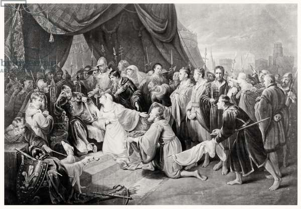 The Surrender of Calais, 4th August 1347, engraved by John Young (engraving) (b/w photo)