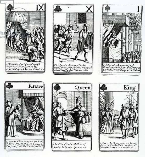 Playing Cards depicting the events from the Spanish Armada,1699 (engraving)
