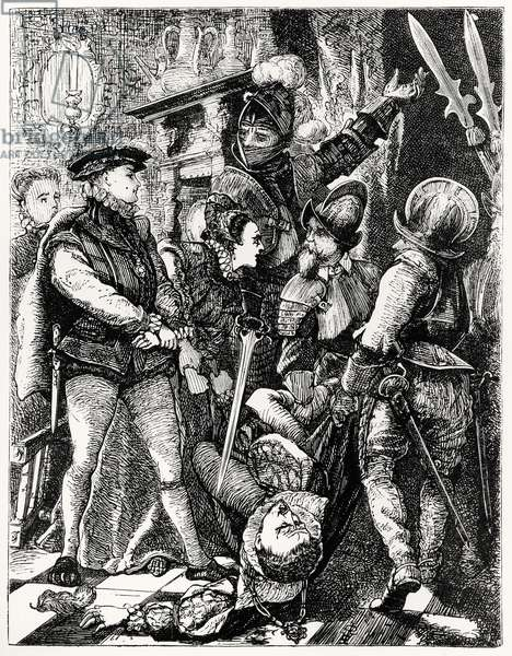 The Murder of Rizzio (c.1533-66) (engraving) (b/w photo)
