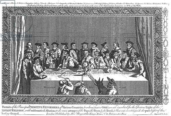 'The Candle of Reformation is Lighted': Meeting of Protestant Reformers from Various Countries, engraved by Lodge (engraving) (b/w photo)