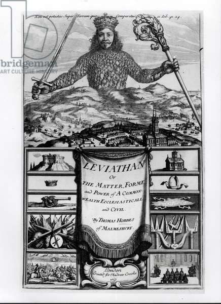 Frontispiece to 'Leviathan or the Matter, Forme and Power of a Common Wealth Ecclesiasticall and Civil', 1651, by Thomas Hobbes (1588-1679) of Malmesbury (engraving) (b&w photo)