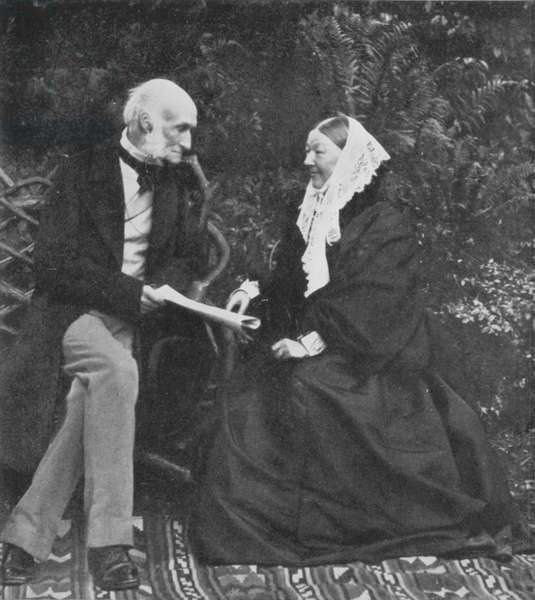 Florence Nightingale and Sir Harry Verney on the lawn at Claydon House, 1889 (b/w photo)