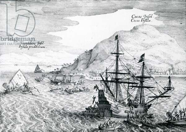 View of Cocos Island and Verraders Island, 1655 (engraving)