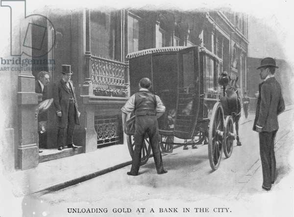 Unloading Gold at a Bank in the City (b/w photo)
