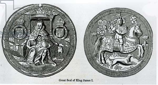 Great Seal of James I (1566-1625) (engraving) (b/w photo)