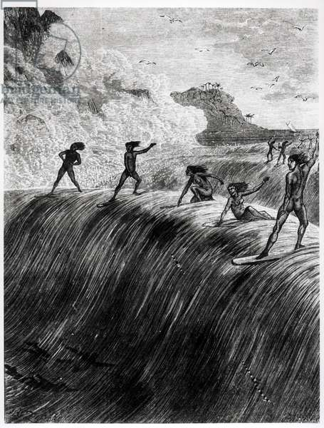 Natives Surfing in the Sandwich Islands (engraving) (b/w photo)