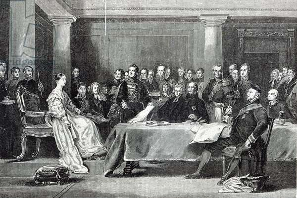The Queen's First Council, from 'Leisure Hour', 1888 (engraving)