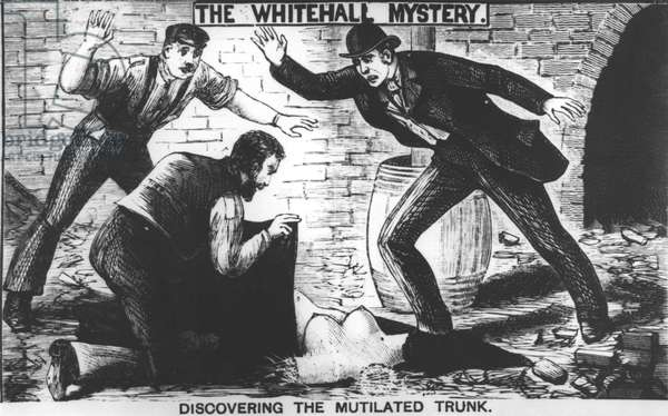 The Whitehall Mystery: Discovering the Mutilated Trunk, 1888 (engraving) (b&w photo)