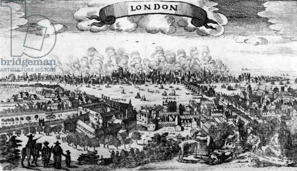 Broadside of the Great Fire of London, 1666 (engraving)