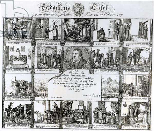 A Feast to Celebrate the Reformation on 31 October 1817: The Life of Martin Luther (1483-1546) (engraving) (b/w photo)