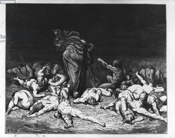 Dante and Virgil in Hell, illustration from 'The Divine Comedy', 1861 (engraving)