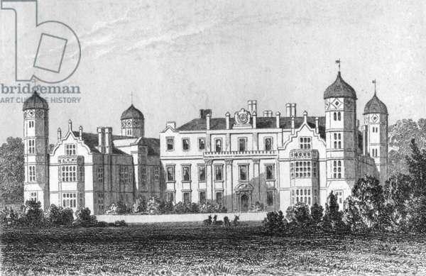 View of Cobham Hall (engraving) (b/w photo)