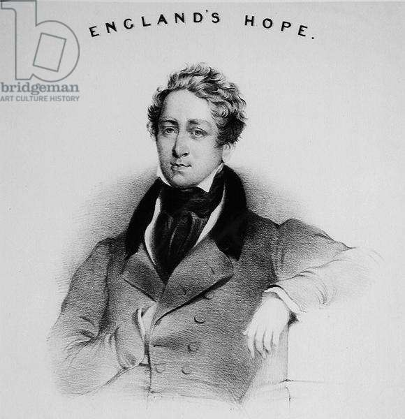 Portrait of Robert Peel (1788-1850) for the front cover of 'England's Hope' sung at the conservative meetings (engraving) (b/w photo)