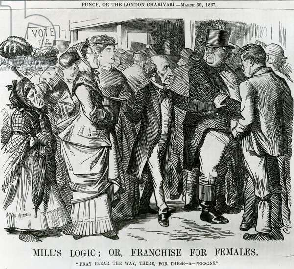 Mill's Logic: or, Franchise for Females, cartoon from Punch, London, 1867 (engraving)