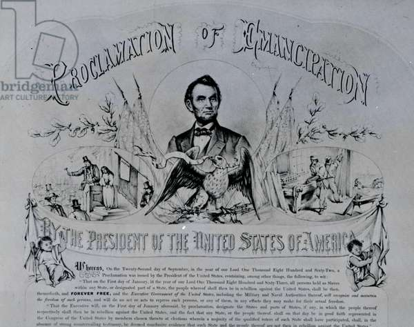 Proclamation of Emancipation by Abraham Lincoln, 22nd September 1862 (litho) (b/w photo)