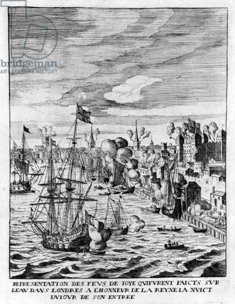 Lit fires in the Tower of London and cannon fire in honour of the arrival of Queen Marie de Medici, illustration from 'Histoire de l'entrée de la Reyne Mère dans la Grande Brétaigne' by Jean Puget de la Serre, published 1639 (etching)