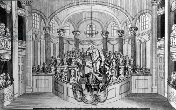 Mr. Garrick delivering his Ode at Drury Lane Theatre, on dedicating a building and erecting a statue to Shakespeare, 1769 (engraving)