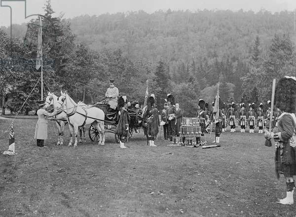 Queen Victoria presenting colours to the Cameron Highlanders, 1873 (b/w photo)