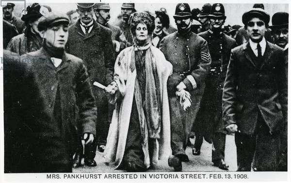Arrest of Mrs Emmeline Pankhurst in Victoria Street, 13th February 1908 (b/w photo)