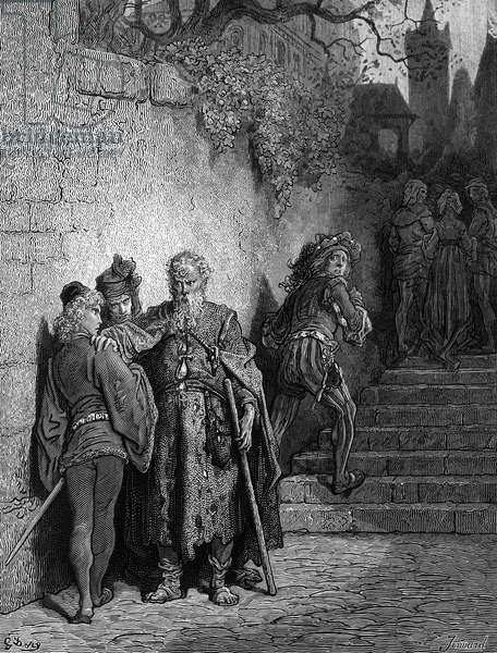 The Wedding Guest being detained by the Ancient Mariner, opening scene of 'The Rime of the Ancient Mariner', by S.T. Coleridge, published by Harper & Sons, New York, 1876 (wood engraving)