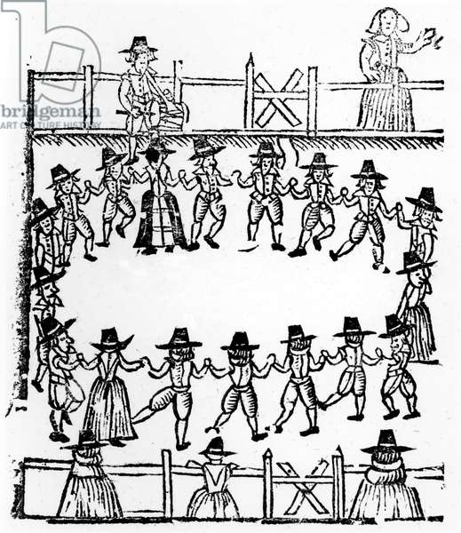 A round dance, an illustration from 'A Book of Roxburghe Ballads' (woodcut)