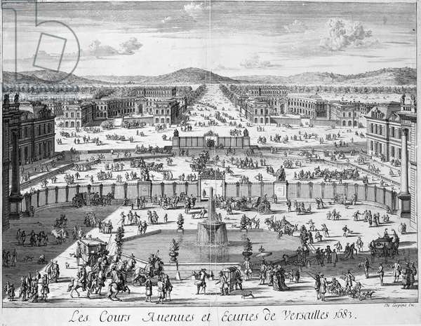 The stables and gates of Versailles seen from the Palace, 1683 (engraving)