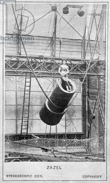 Zazel, first human cannonball, 1877 (b/w photo)