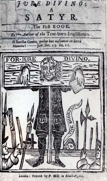 Title-page of the first book of 'Jure Divino - A Satyr' by Daniel Defoe (1660-1731) published in 1706 (engraving) (b&w photo)