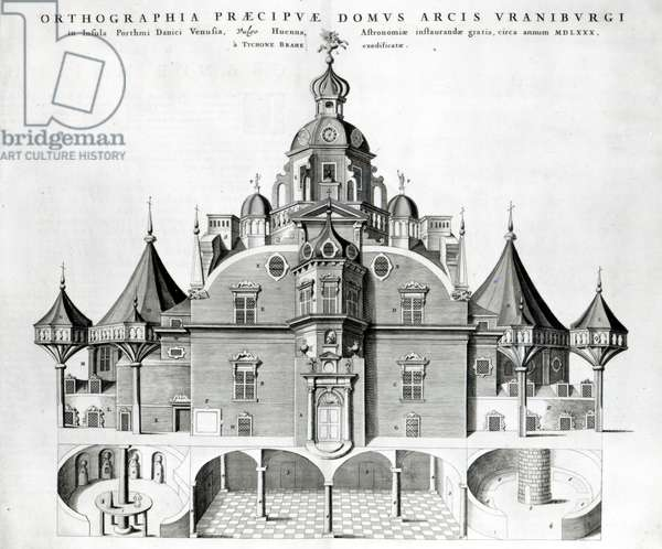 Tycho Brahe's observatory Uraniborg from Joan Blaeu's 'Atlas Major', 1663 (engraving) (b/w photo)