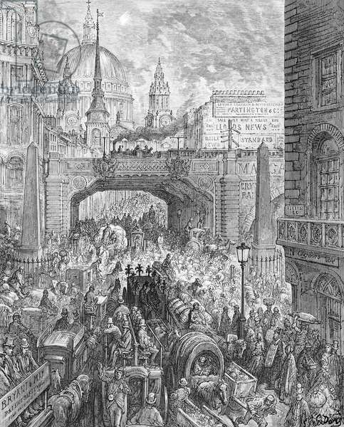 Ludgate Hill, from 'London, a Pilgrimage', written by William Blanchard Jerrold (1826-94) pub. 1872 (engraving)